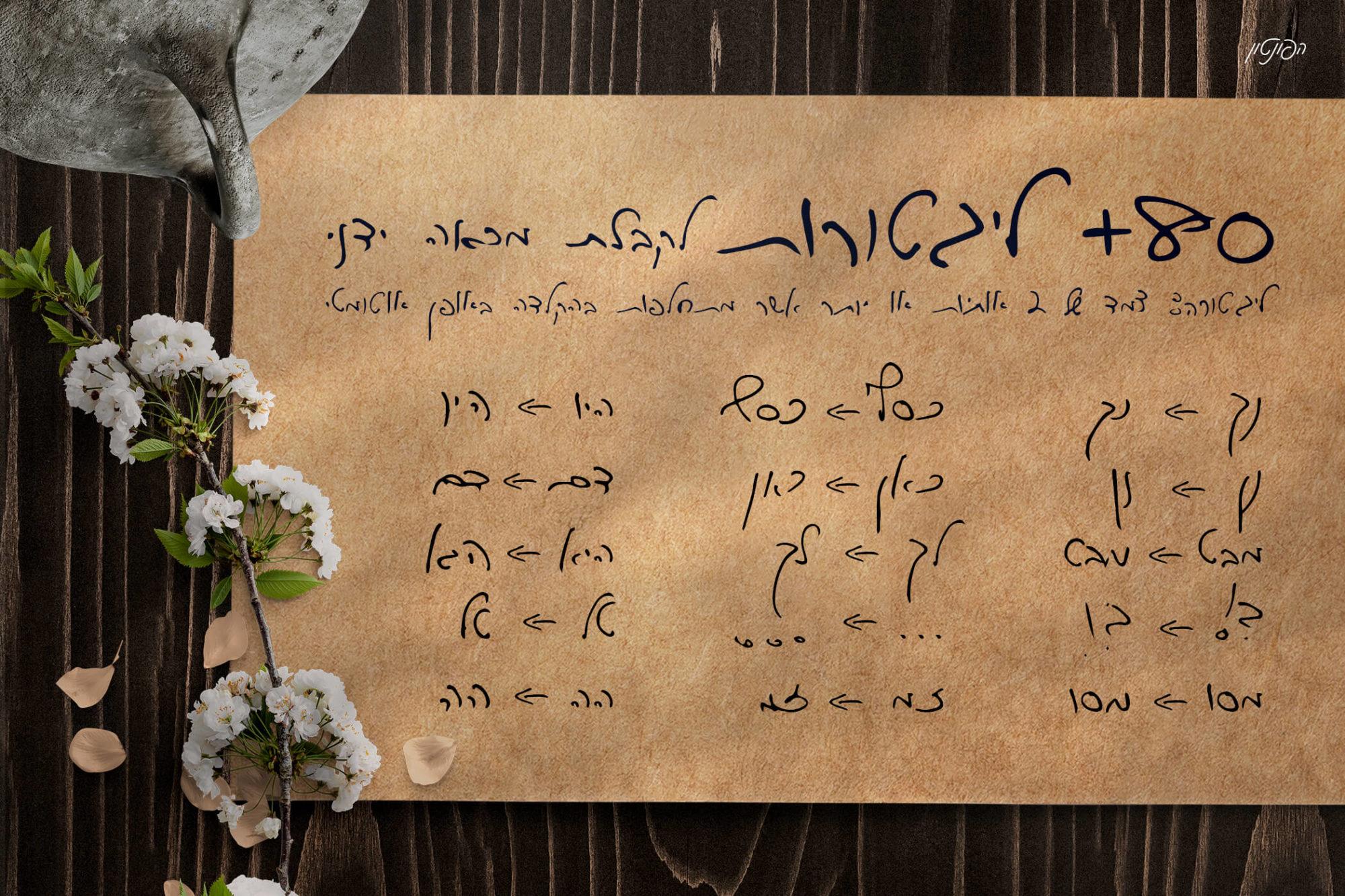 80+ ליגטורות לקבלת מראה ידני – פונט כתב־יד בעברית להורדה בחינם